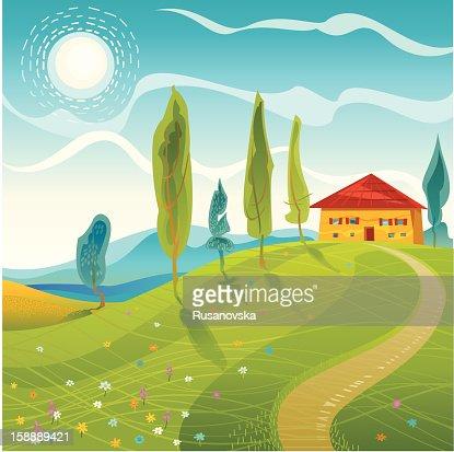夏の風景 : ベクトルアート