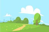 Summer landscape vector illustration cartoon style