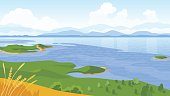 Summer landscape with sea and mountains vector illustration
