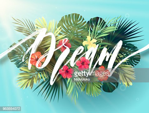 Summer lettering with green palm leaves and bright hibiscus flowers on a sky blue background. Modern botanical typography design. Vector illustration : stock vector