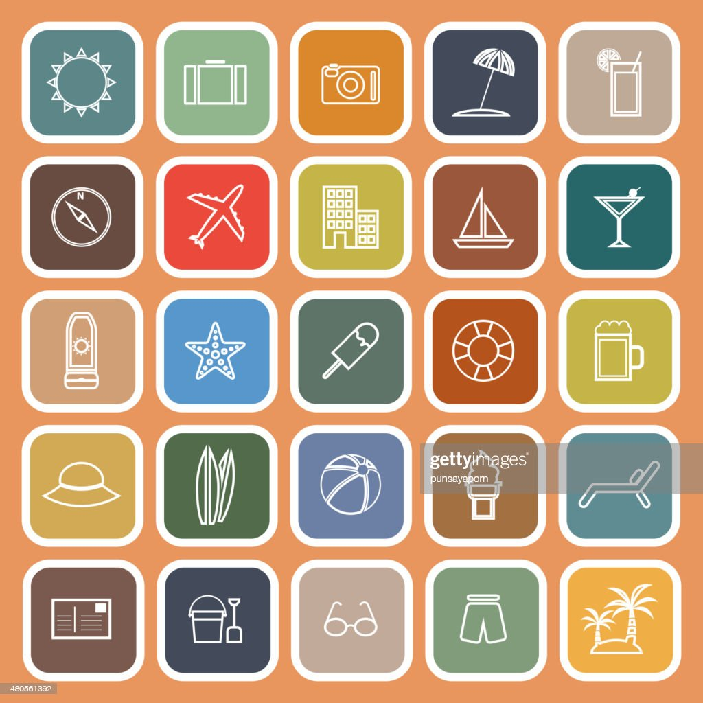 Summer line flat icons on orange background : Vector Art