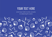 Summer marine horizontal template banner, white line on blue background, border circle, lineart. Shells, starfish and bubbles. Cover for booklet, flyer, postcard. Vector illustration