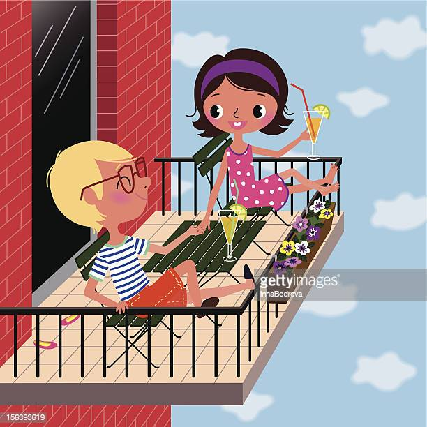 Balcony vector art and graphics getty images for Balcony cartoon