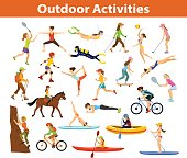 Summer Outdoor, beach sports and activities. Woman do yoga, running, cycling, traveling with mountain bike and backpack, paddling, kayaking, climbing, rafting, hiking, playing tennis, golf and badmint