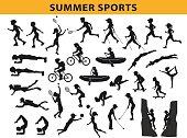 summer, outdoor sports silhouette collection, man  woman run, nordic walking, roller skating, swim, do yoga, climbing, cycling, skateboarding, travel, scuba diving, play tennis, golf, badminton, volle