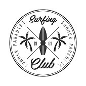 Summer paradise surfing club icon template, black and white vector Illustration for label, badge, sticker, banner, card, advertisement, tag