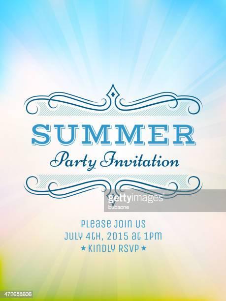 Sommer-Picknick-party-Einladung mit Sonnenlicht Vektor Rückseite