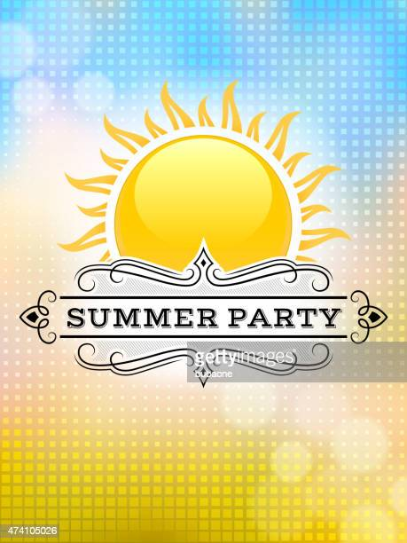 Summer party picnic vintage invitation with sunlight vector back