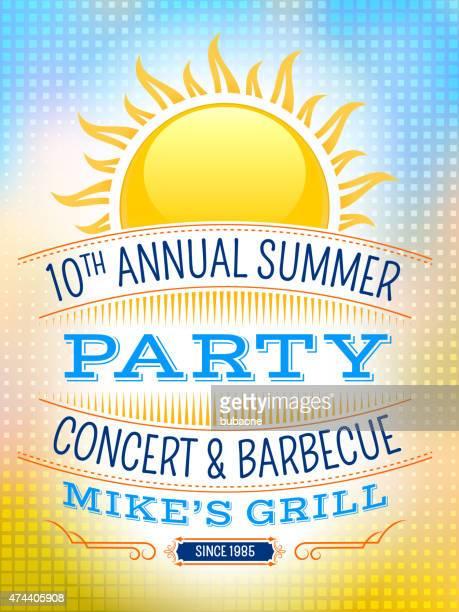 Summer party pique-nique avec les rayons du soleil vecteur invitation vintage dans le dos