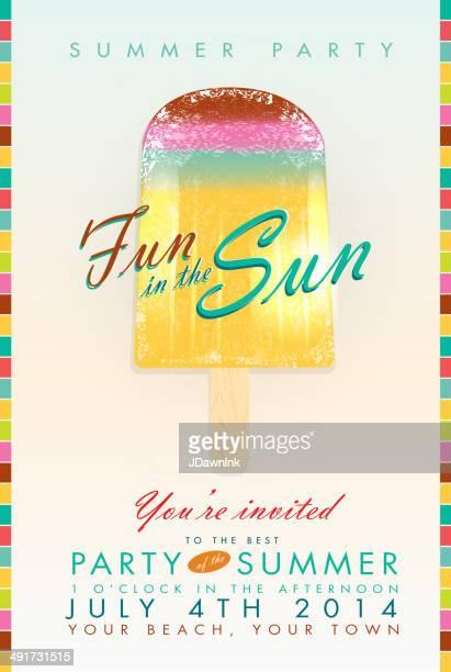 Summer party popsicle 'Fun in the Sun' template invitation design