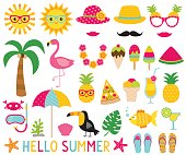 Summer photo booth props and design elements