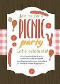 Summer picnic party card with food and drink. Vector illustration