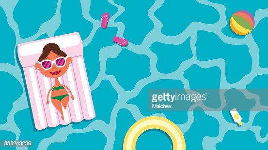 Summer Pool Girl : Vector Art