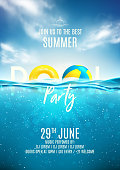 Summer pool party poster template. Vector illustration with deep underwater ocean scene. Background with realistic clouds and marine horizon. Invitation to nightclub.