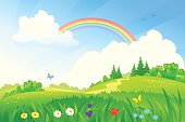 Vector illustration of a beautiful summer landscape with a rainbow. RGB colors.