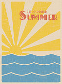Summer retpo poster. Abstract sun and sea vintage design. Vector illustration