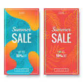 Summer sale banner template. Colorful banners with tropical palm leaves pattern. Summer promotion vertical coupon. Applicable for discount flyer, roll up, poster. Vector illustration.