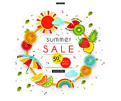 Summer Sale Stylized multicolored flowers, umbrella, leaves, clouds, rainbow, sun, fruit Abstract background for advertising, banners, posters, flyers, leaflets, signboards Vector illustration