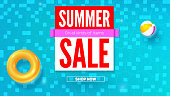 Summer sale, hot offer in summertime. Top view on realistic swimming pool with blue wavering water, inflatable ring, beach ball, flat lay. Three dimensional vector illustration for events by discount