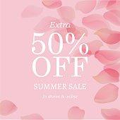 Summer Sale Pink Banner, With Gradient Mesh, Vector Illustration
