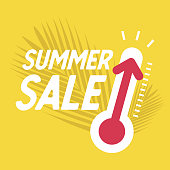 Summer sale with thermometer, Special offer, summer discount banner