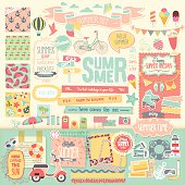 Summer scrapbook set - decorative elements. Vector illustration.