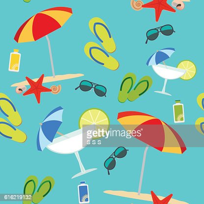 Summer seamless pattern on blue background : Vector Art