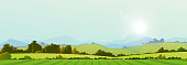 Illustration of a wide summer season country banner or header for web site