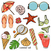 Summer set on the theme of beach holidays and summer meals. Colorful beach items in sketch style on white background. Vector illustration