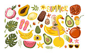 Summer set with hand drawn travel elements. Ice cream, watermelon, leaves, pomegranate, sandals, avocado, banana, calligraphy and other. Vector illustration EPS10