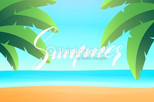 Summer. Summer landscape beach view. Tropical island with palms, ocean and beach.