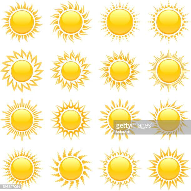 Summer sun designs with glowing rays vector icon set