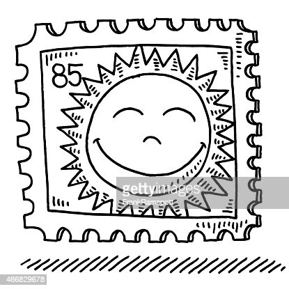 Hand-drawn vector drawing of a Summer Sun Stamp. Black-and-White ...