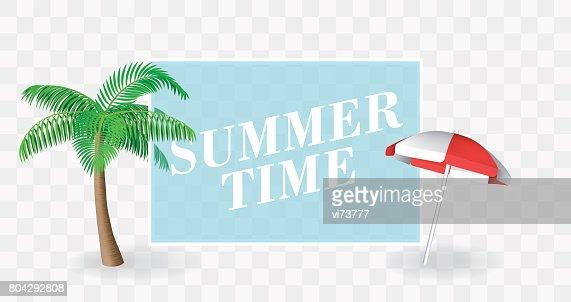 Sommerzeitbannervorlage Palm Tree Und Sonnenschirm Mit Einem