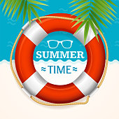 Summer Time Banner with a Life Buoy and Green Palm Leaf Concept Ocean or Sea Resort. Vector illustration