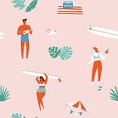 Summer time beach fun seamless pattern in vector. Surf illustration in retro mid century style
