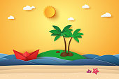 Summer time , sea with island , origami boat , beach and coconut tree , paper art style