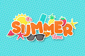 Summer time vector banner design. Paper cut style. vector illustration