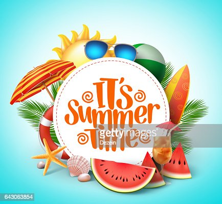 Summer time vector banner design with white circle for text : Vector Art