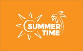 Summer time White illustration on orange background