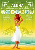 Summer travel beach background with beautiful tan sexy girl. Invitation design for summer beach party with icon set. Tropical sunset sea.