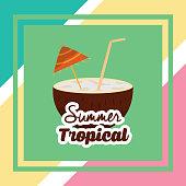 summer tropical season cocnut beverage drink cocktail vector illustration