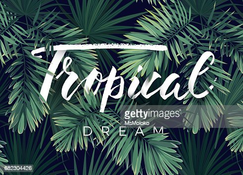 Summer tropical vector design for banner or flyer with dark green palm leaves and lettering : stock vector