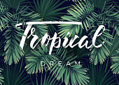Summer tropical design for banner or flyer with dark green tropical palm leaves lettering. Vector illustration.