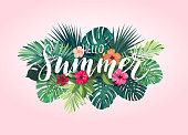 Summer tropical design for banner or flyer with exotic palm leaves, hibiscus flowers and lettering. Vector illustration.