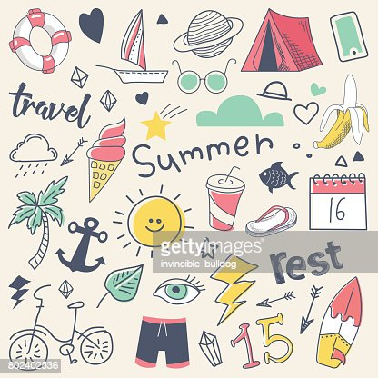 Summer Vacation Freehand Hand Drawn Doodle with Sun, Surf and Camp : arte vettoriale