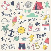 Summer Vacation Freehand Hand Drawn Doodle with Sun, Surf and Camp. Vector illustration