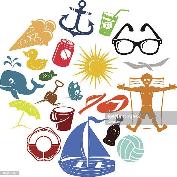 Sommer Urlaub icons set