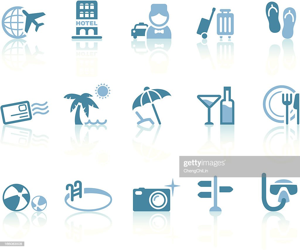 Summer Vacation Icons | Simple Blue Series : Vector Art