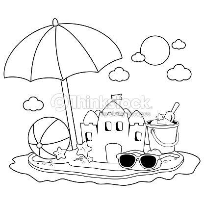 Isla De Vacaciones De Verano Con Sombrilla De Playa Un Castillo De ...